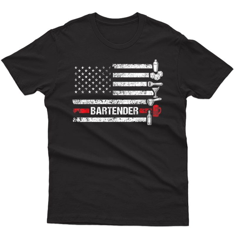 American Flag Bartending Bar Working Bartender T-shirt