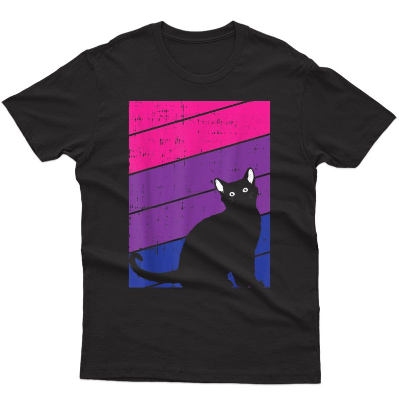 Black Cat Bi-sexual Pride Kitten Lover Lgbt-q Proud Ally Bi T-shirt