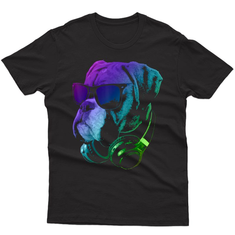 Boxer Dog With Sunglasses And Headphones T-shirt