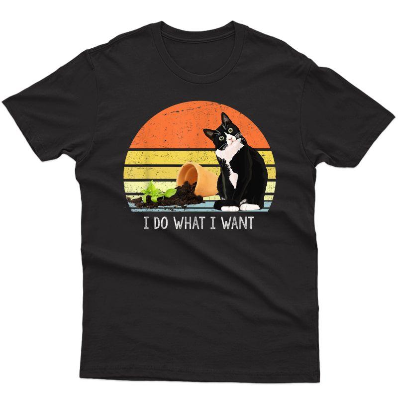 Cat Destroying Plants Funny Cat Plant Lover Chonk Cat T-shirt
