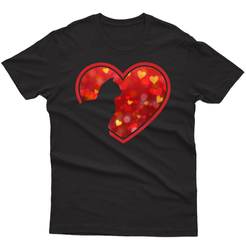 Cat Heart Cute Funny Gift For Cat Lovers Girl Boy T-shirt