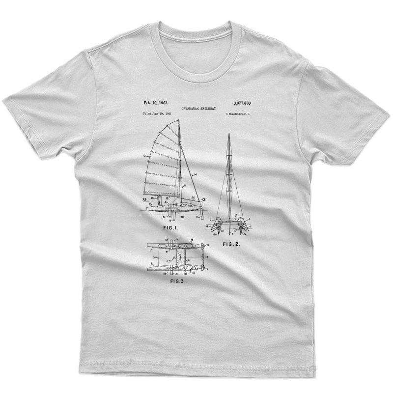 Catamaran Sailboat Blueprint Shirt - Old Sailing Boat Ocean