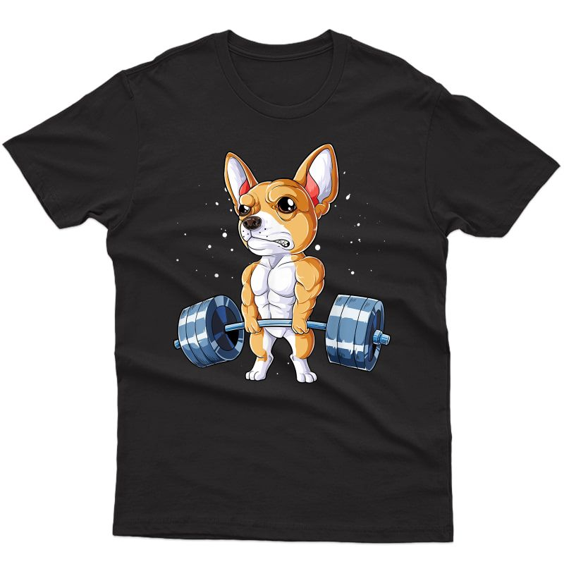 Chihuahua Weightlifting Funny Deadlift Ness Gym Gifts T-shirt