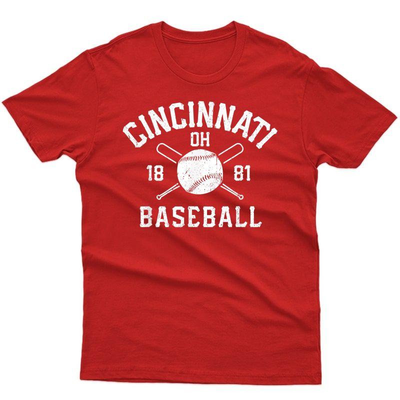 Cincinnati Baseball Vintage Distressed Ohio Red Retro Gift T-shirt