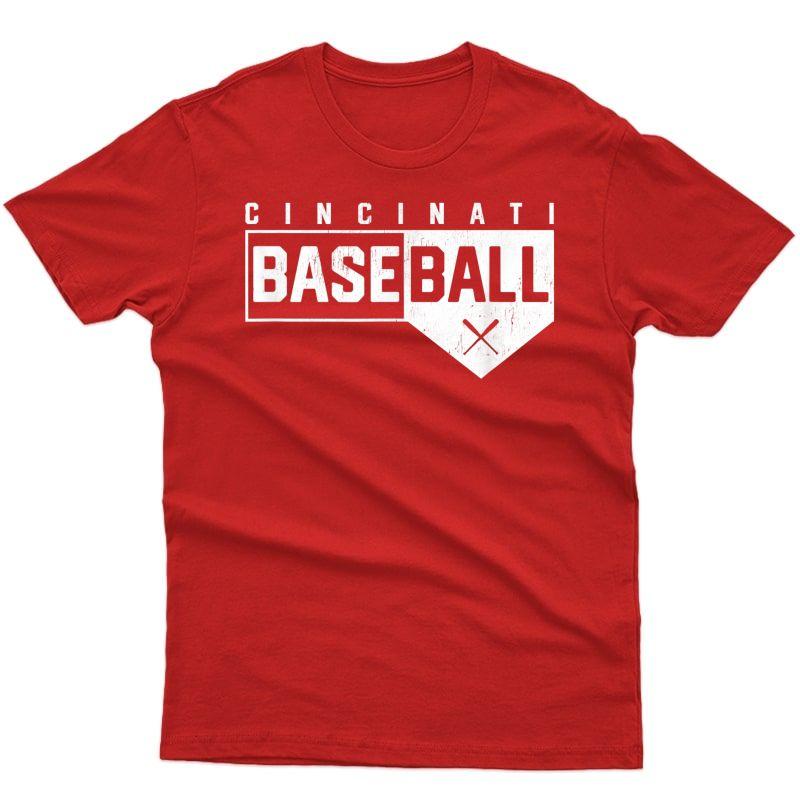 Cincinnati Ohio Baseball Classic Home Plate Design Graphic T-shirt