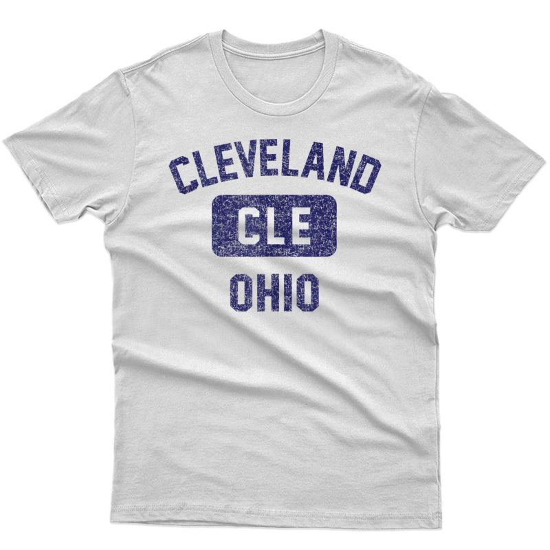 Cleveland Cle Gym Style Distressed Navy Blue Print Tank Top Shirts