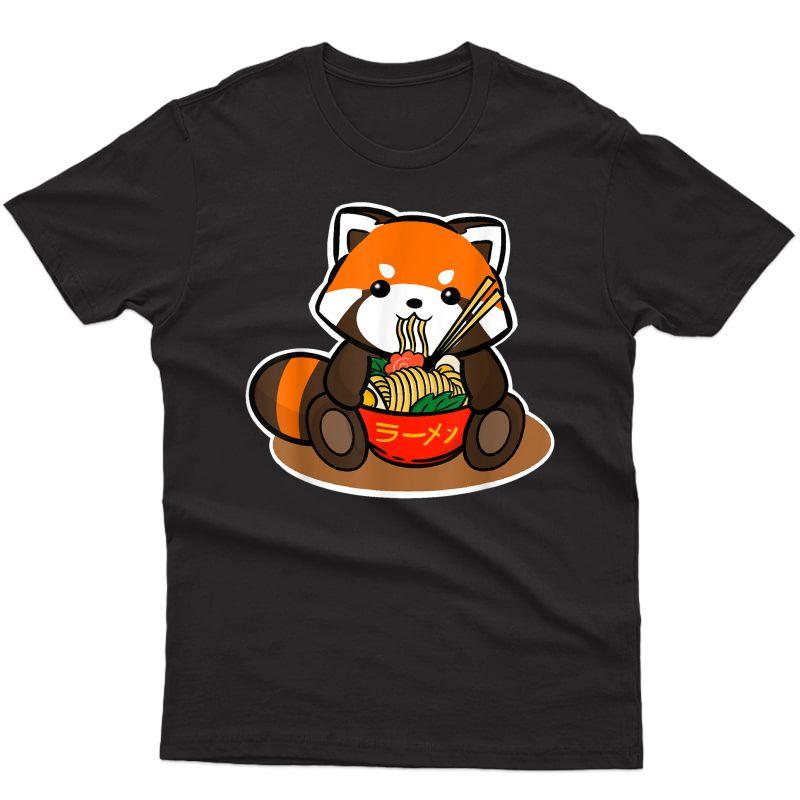 Cute Red Panda Eating Ra Noodles Illustration T-shirt
