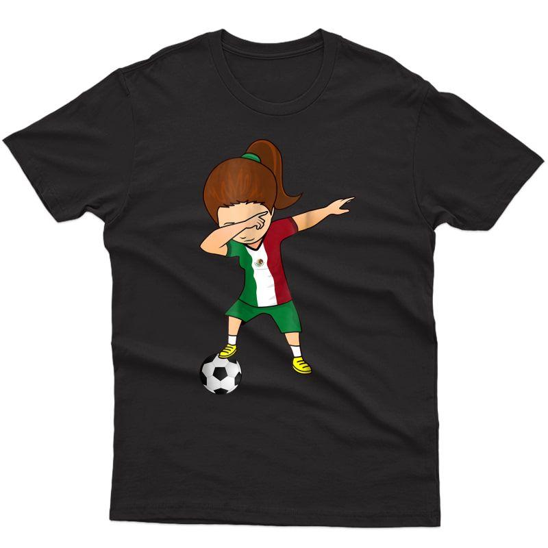 Dabbing Soccer Girl Mexico Shirt - Mexican Football