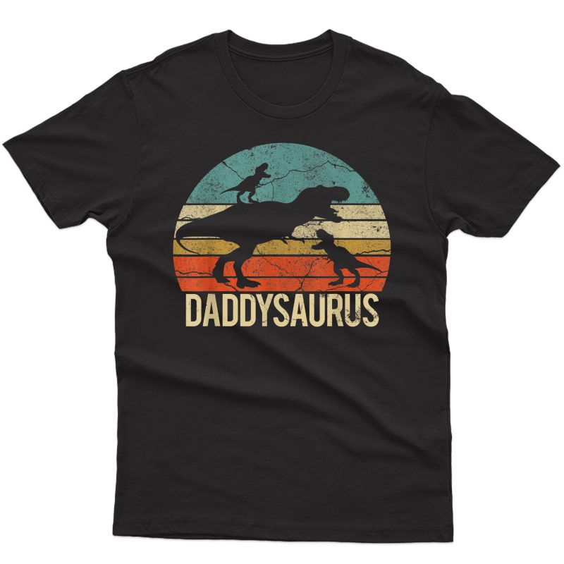Daddy Dinosaur Daddysaurus 2 Two Christmas Gift For Dad T-shirt