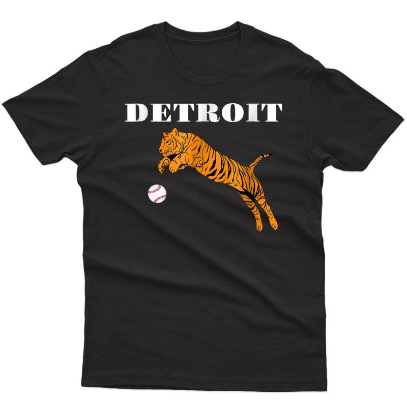Distressed Tiger Mascot Tshirt Detroit Hometown Baseball Fan