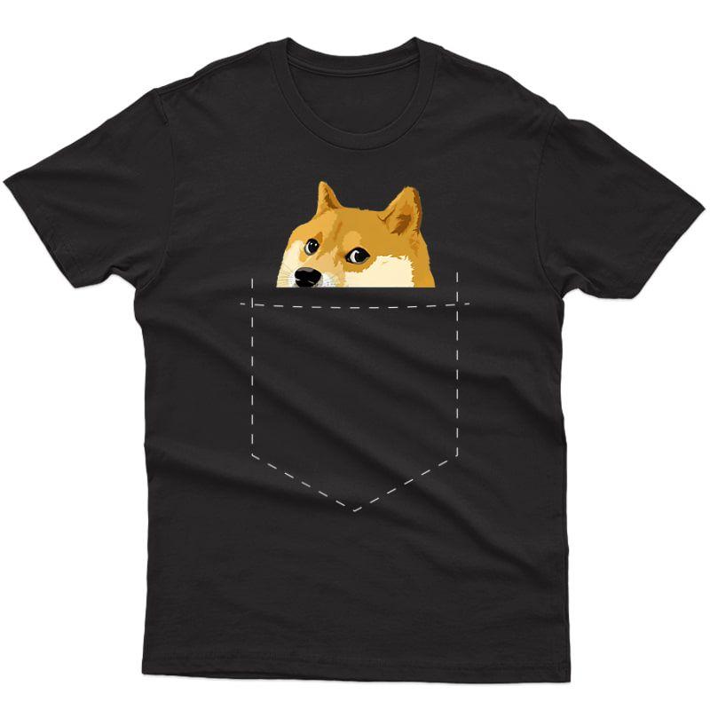 Doge Pocket Shirt   Dog Dogecoin   Doge Meme T-shirt