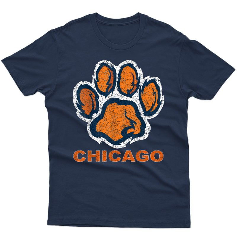 Funny Vintage Foot Paw Bear Orange Chicago Football Gifts T-shirt