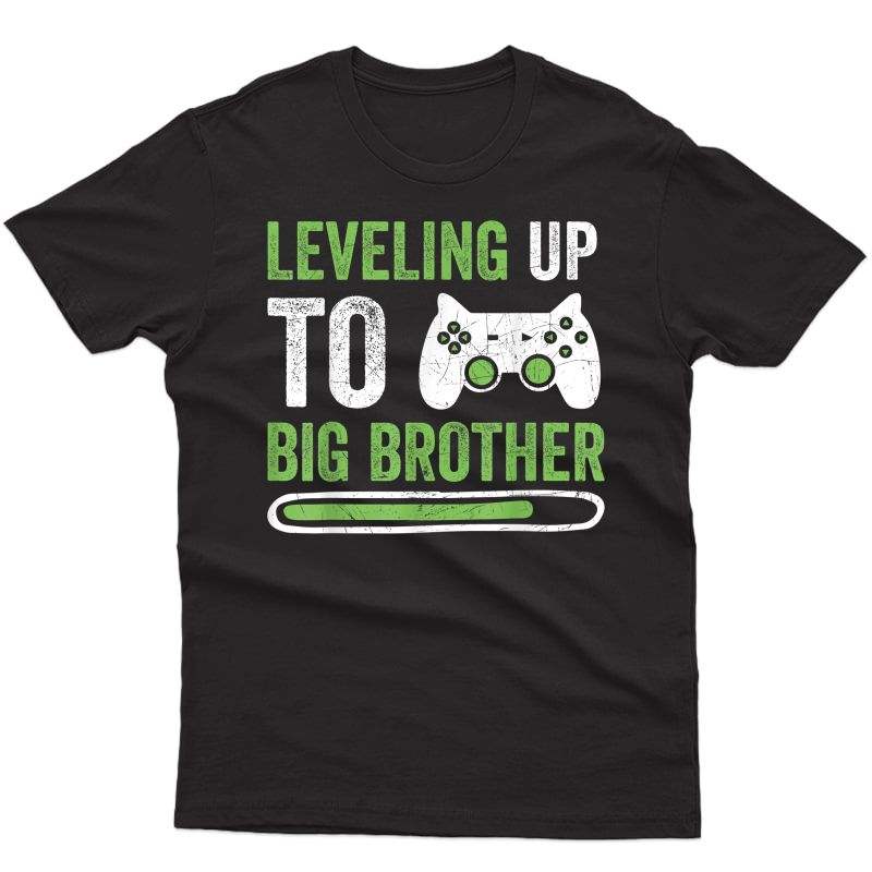 Gamer New Brother T-shirt Leveling Up To Big Bro T-shirt