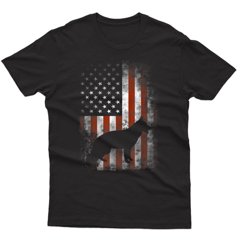 German Shepherd Shirt American Flag Usa Patriotic Dog Gift T-shirt