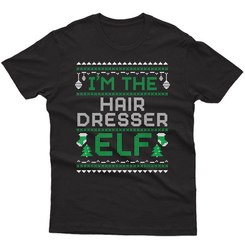 Hair Dresser Christmas Elf Salon Barber Hairstylist Gift T-shirt