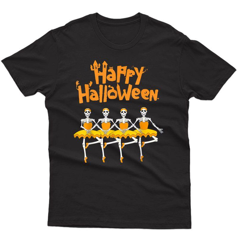 Happy Halloween Dancing Ballet T-shirt Skeleton Ballerina