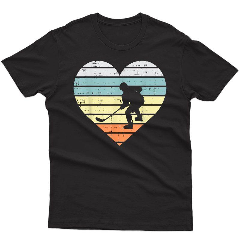 Ice Hockey Player Silhouette Heart Retro T-shirt