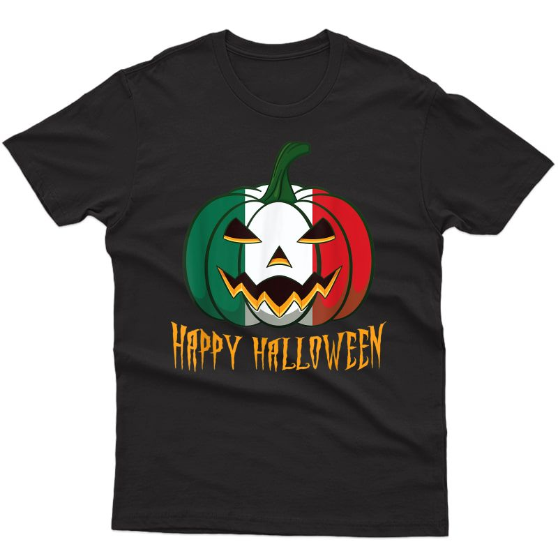 Italian Flag Halloween Pumpkin Italia Jack O Lantern Costume T-shirt