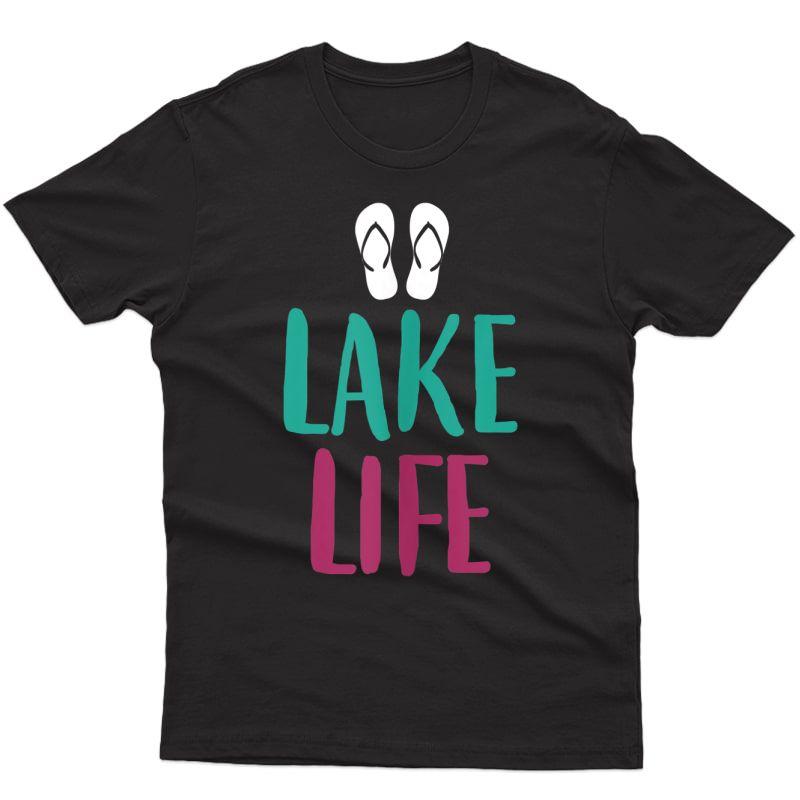 Lake Life Flip Flops Summer Beach Sailing Sand Sun Waves Tank Top Shirts