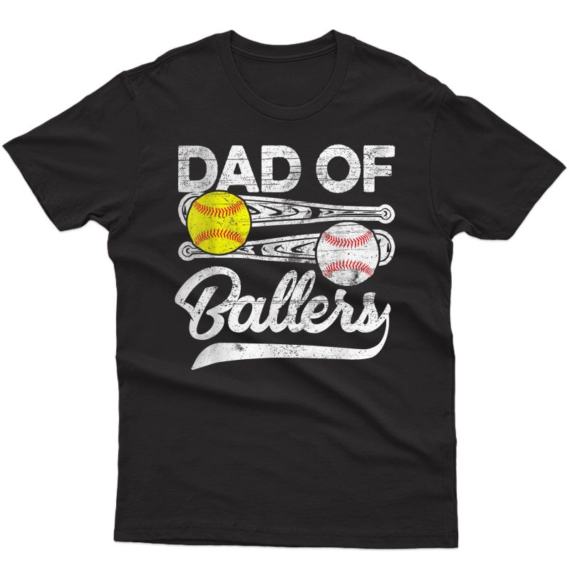 S Dad Of Ballers Fathers Day Gifts Baseball Softball Dad Coach T-shirt