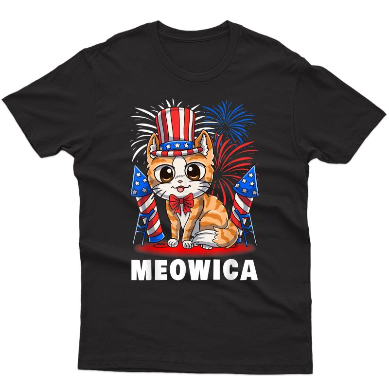 Meowica 4th Of July Patriotic Cat Funny American Flag Cute T-shirt