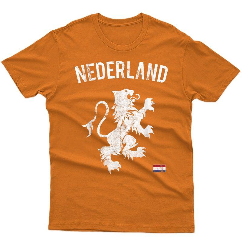 Netherlands Soccer Flag Holland Dutch Pride Lion T-shirt