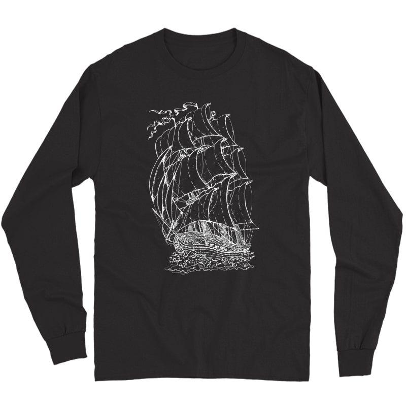 Pirate Ship Vintage Retro L Sailing Boat Captain T-shirt Long Sleeve T-shirt