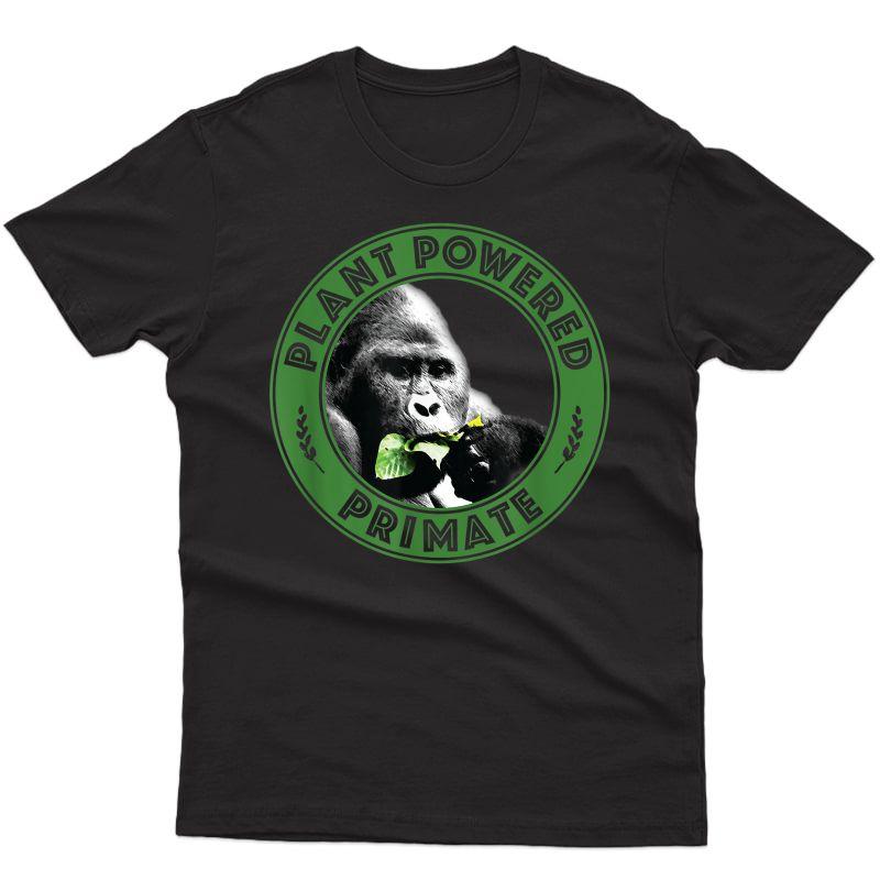 Plant Powered Primate Logo Design Vegan, Vegetarian Slogan T-shirt