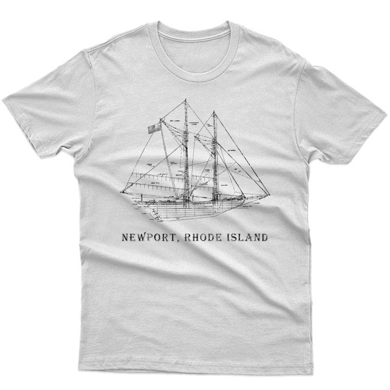 Sailboat Vintage Blueprint Newport, Ri Vacation Sailing T-shirt
