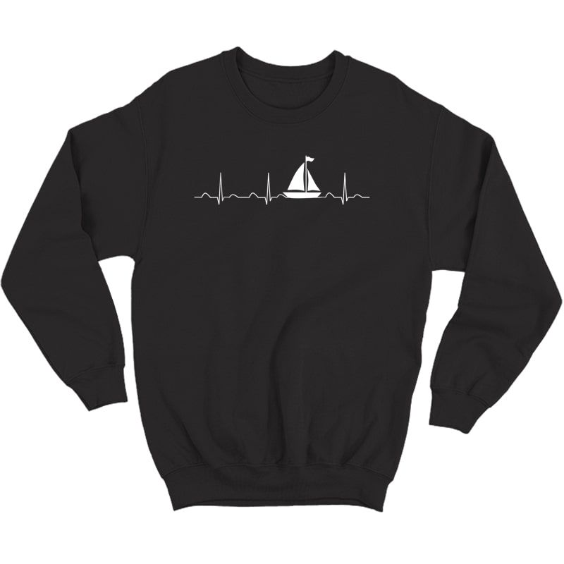 Sailing Heartbeat Boat Shirt, Funny Boating Sailor Gift Crewneck Sweater