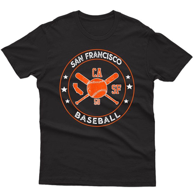 San Francisco Baseball Sf The City Badge Giant Vintage Fan T-shirt