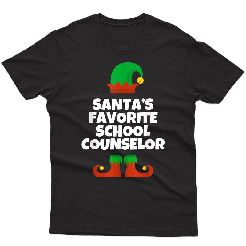 Santa's Favorite School Counselor Christmas Gift Funny T-shirt