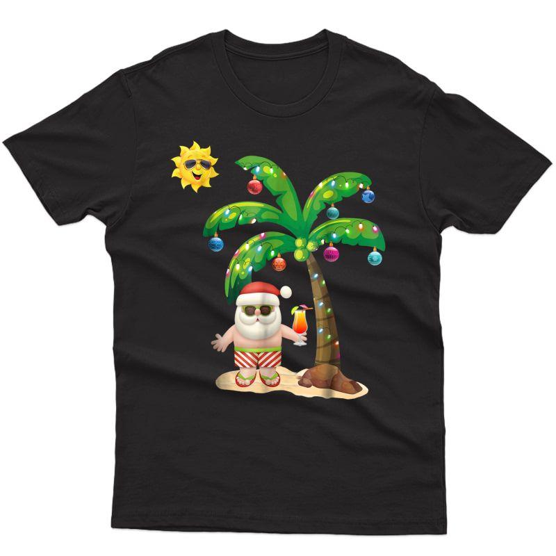 Summer Santa Claus Shirt Christmas Mele Kalikimaka Aloha