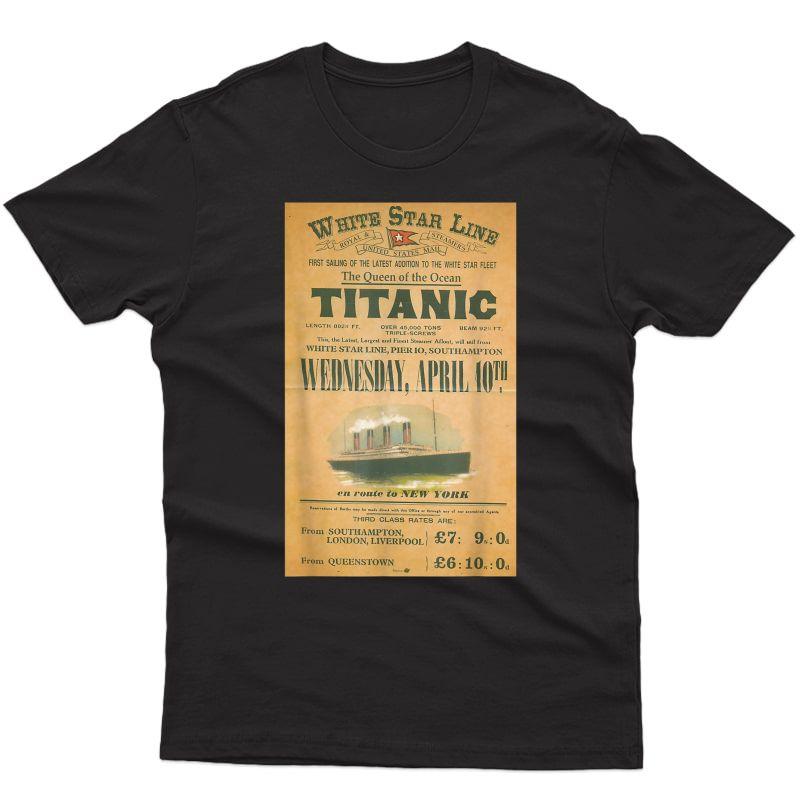 Titanic Gift T Shirt Sailing Ship Vintage Cruise Vessel 1912
