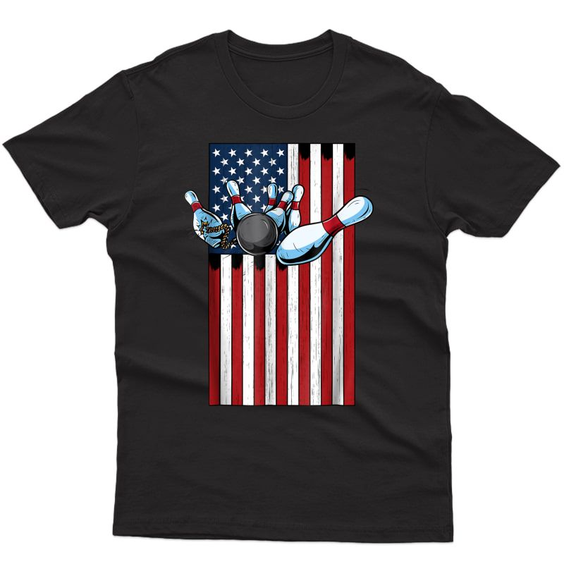 Usa American Flag And Bowling T-shirt For Patriotic Bowlers