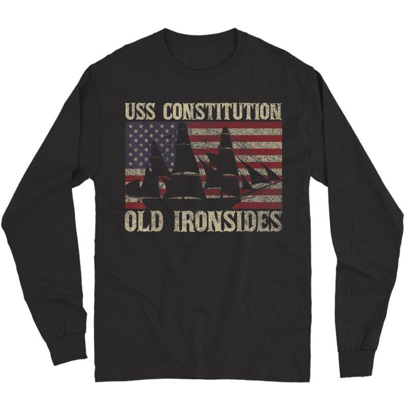 Uss Constitution Sailing Ship Usa American T-shirt Long Sleeve T-shirt