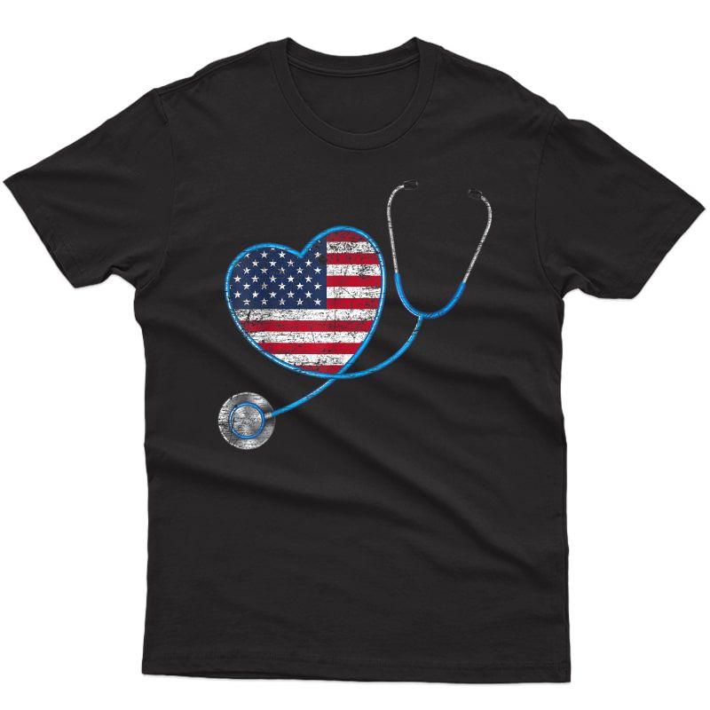 Vintage Heart Usa Flag Gifts Stethoscope Nurse T-shirt