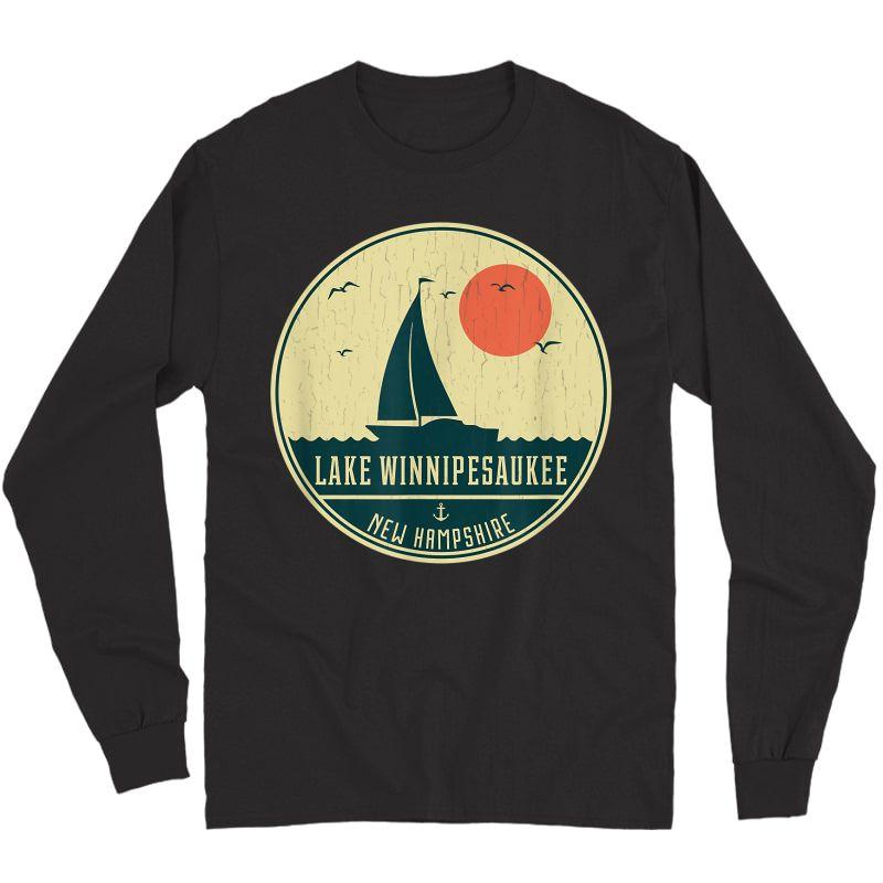 Vintage Lake Winnipesaukee New Hampshire Sailing T-shirt Long Sleeve T-shirt