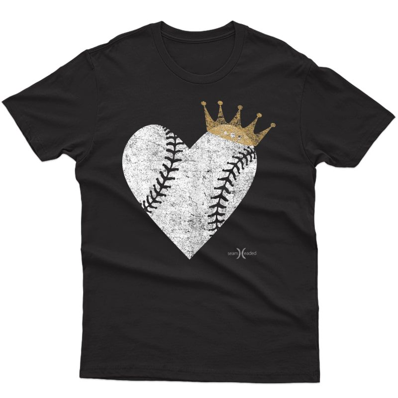 Vintage Royal Baseball Heart With Crown T