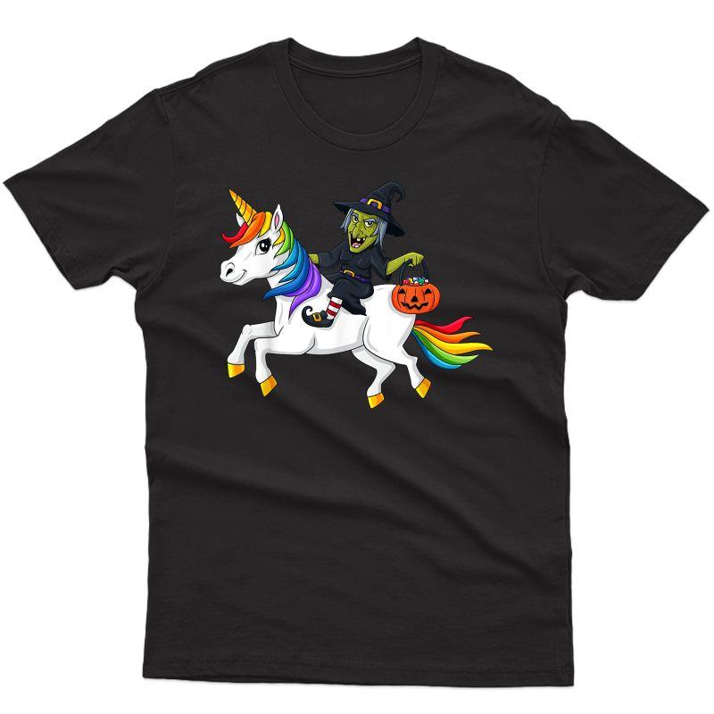 Witch Riding Unicorn Funny Halloween Girls T-shirt