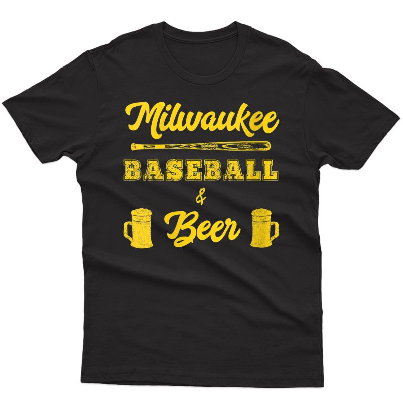 Classic Milwaukee Baseball & Beer Fan Retro T-shirt