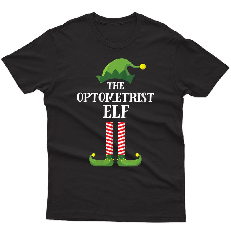 Optometrist Elf Matching Family Group Christmas Party Pajama T-shirt